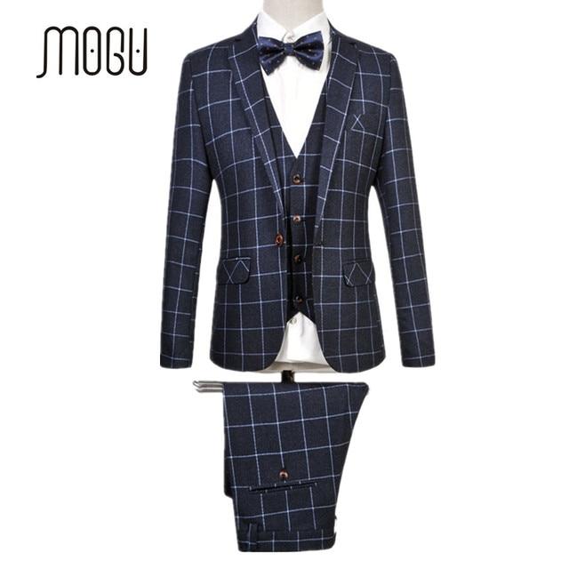 Mogu 2017 New Latest Coat Pant Designs Fashion Plaid Suits For Men