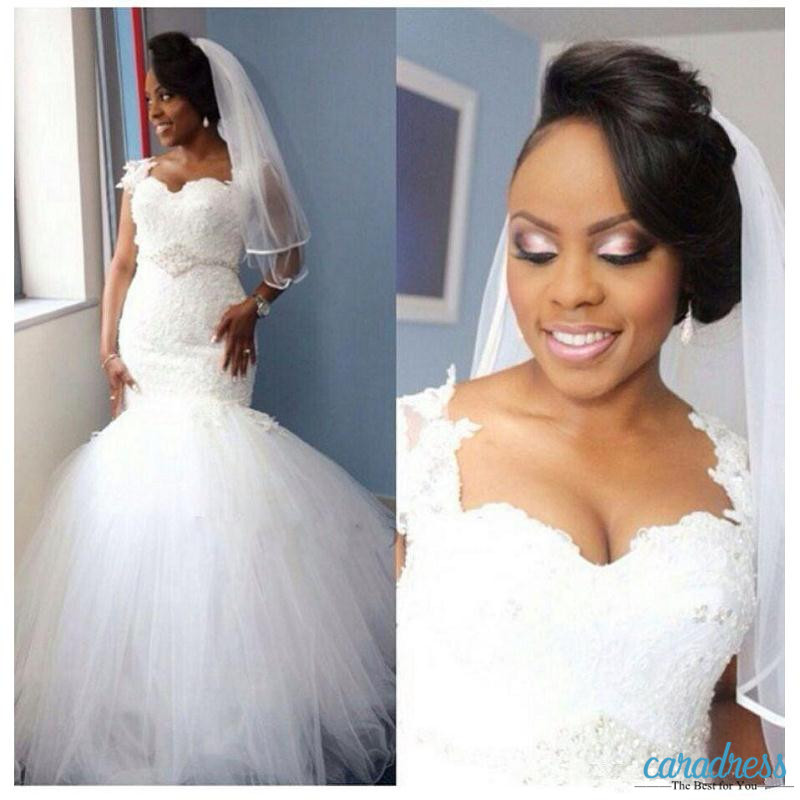 6115aeb5d06f3 Sexy Nigerian Wedding Dresses Mermaid Lace Applique Sweetheart Beads Sash  Fitted Flare Sheer Modest Plus Size Bridal Gowns Cheap-in Wedding Dresses  from ...