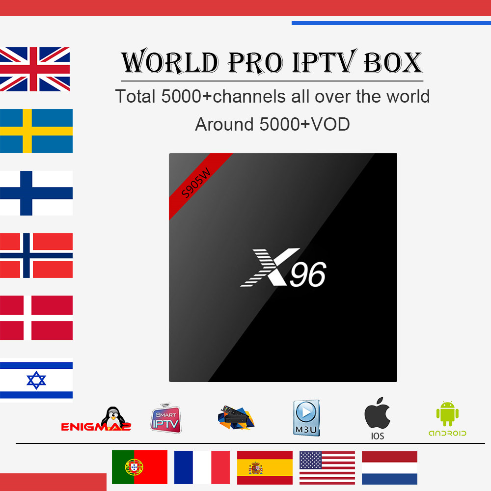 World iptv box New X96W Android tv box 7.1 Amlogic S905W 1G/8G 2G/16G Arabic Italy French UK with 4700+live smart tv set top box