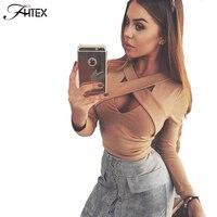 faf0fc06395828 ForeFair 2017 Trend Cross V-neck Sexy Crop Top Women Slim T-shirt Black  White Purple Long Sleeve T shirt