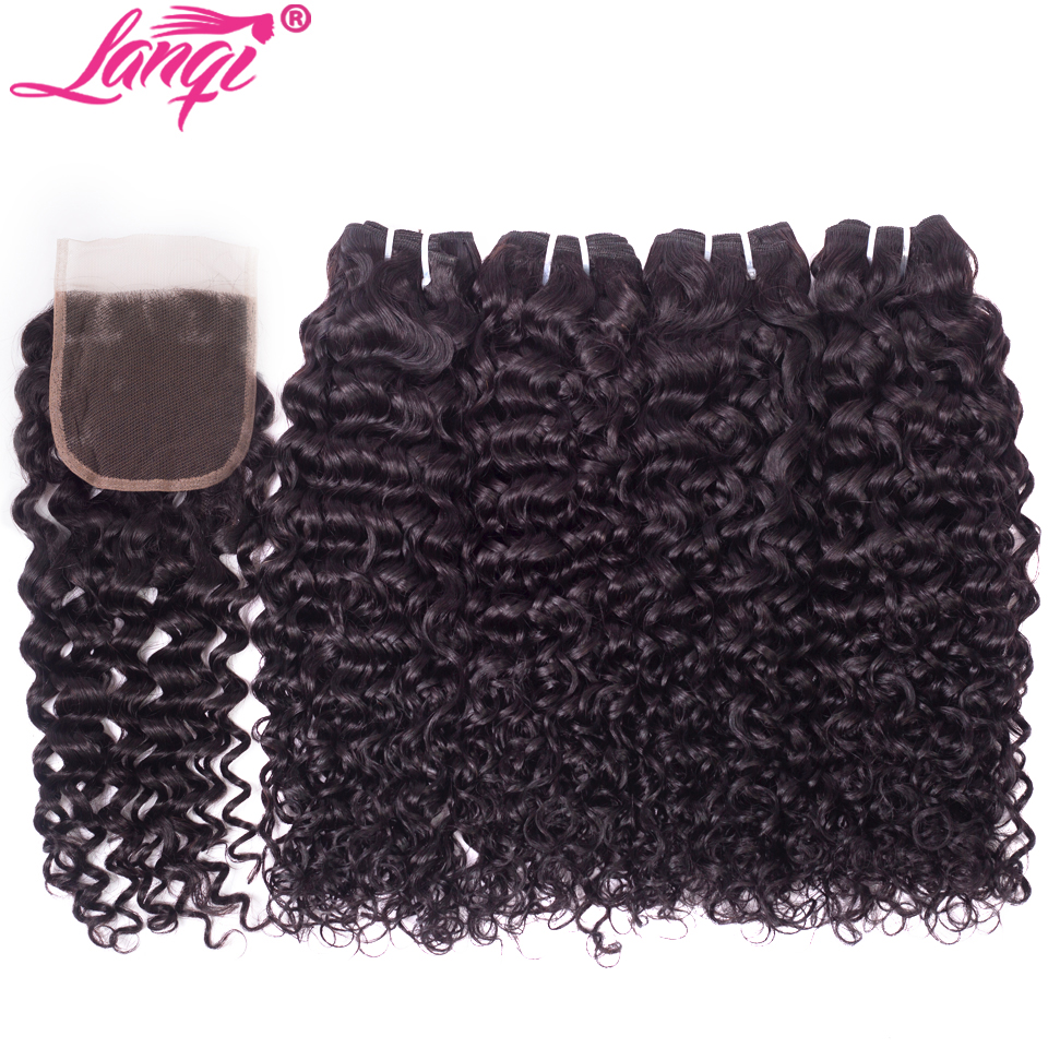 Brazilian Water Wave Bundles With Closure Human Hair 2 4 Bundles With Closure Lanqi Non Remy Brazilian Hair Weave With Closure