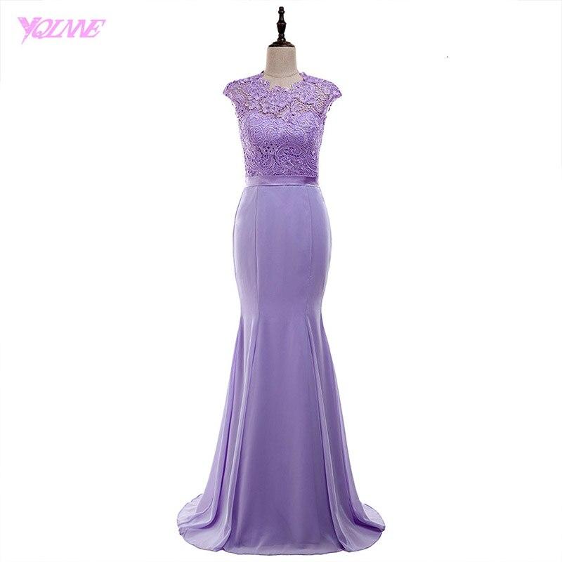 YQLNNE 2018 Lilac Lace Chiffon Bridesmaid Dresses Long Mermaid Wedding Party Dress Vestido De Festa
