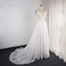 Женское кружевное свадебное платье с иллюзионным вырезом, короткая Внутренняя юбка, свадебное платье, изготовление на заказ