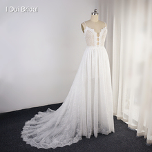 Beaded Spaghetti Strap Lace Wedding Dress Illusion Neckline Short Inside Skirt Bridal Gown Factory Custom Make