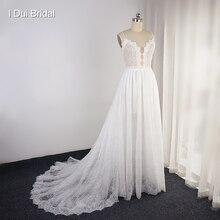 Zroszony Spaghetti pasek koronki suknia ślubna Illusion dekolt krótki wewnątrz spódnica suknia ślubna na zamówienie z fabryki Make