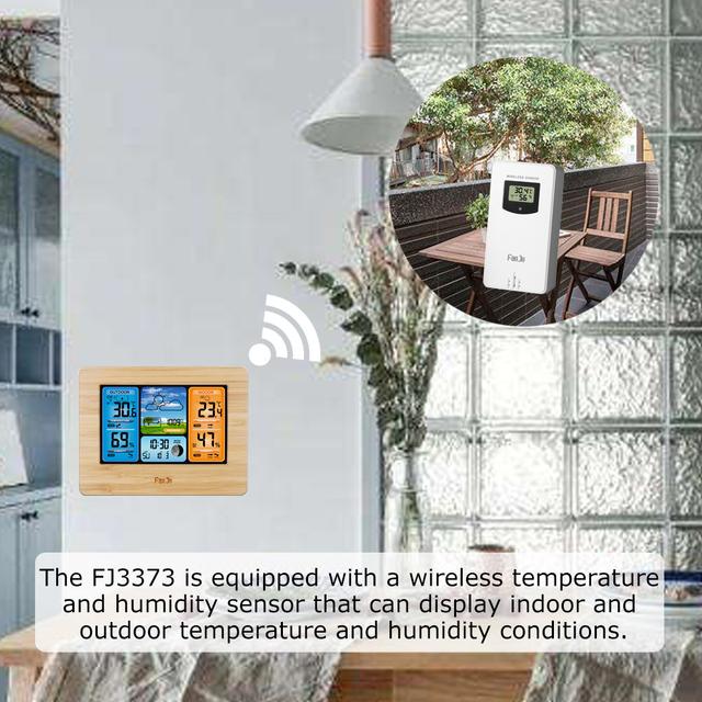 FanJu FJ3373 Digital Weather Forecast Station Wall Alarm Clock Temperature Humidity Backlight Snooze Function USB Power Supply