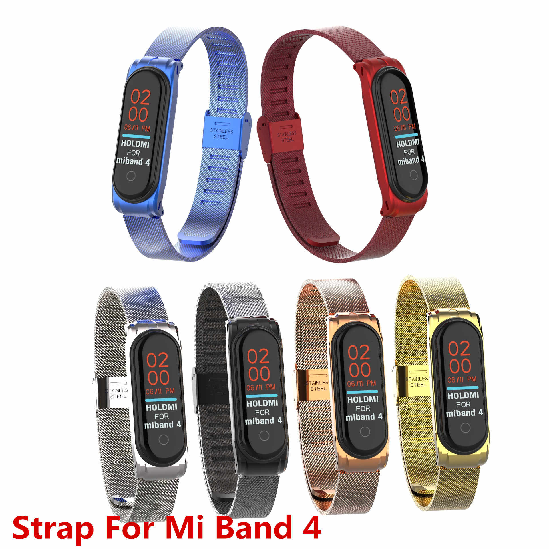 Mi Band 4 Strap Metal Wrist Strap For Xiaomi Mi Band 4 Bracelet Buckle Steel Band4 Accessories Band 4 Wristband Straps