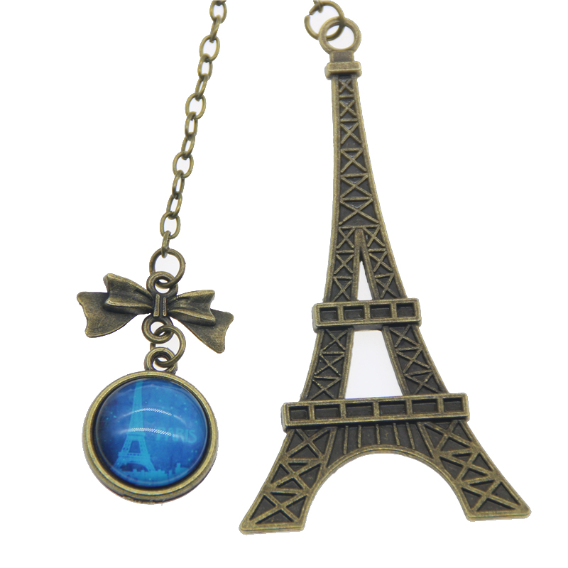Vintage Eiffel Tower Bookmark For Books Creative Glass Gemstone Pendant Peag Holder Gift Stationery School Office Supply Escolar