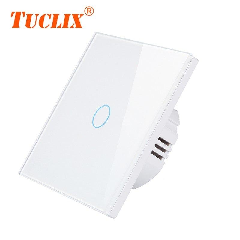 Interruptor táctil TUCLIX 1/2/3 Gang interruptor de pantalla táctil de pared, Panel de interruptor de cristal, no se puede controlar a distancia