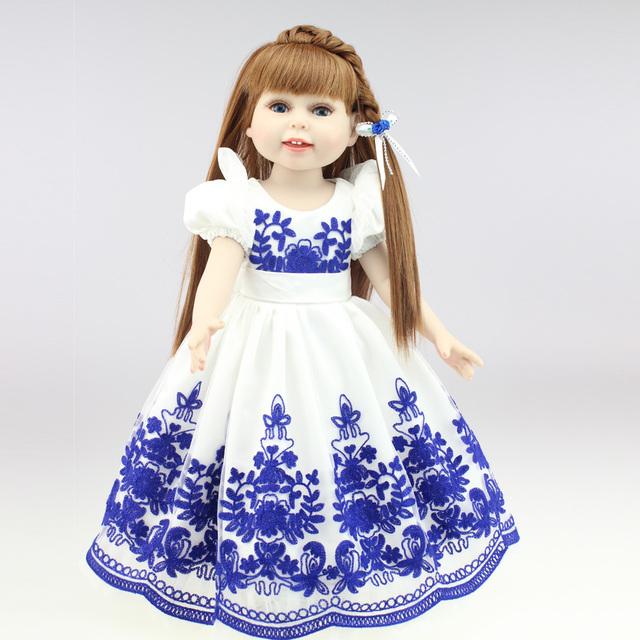 Novo vinil americano princesa 45 cm boneca menina de 18 polegada realista bonito presente de aniversário do bebê vestido feito à mão Silicone renascer bebê DIY Bjd