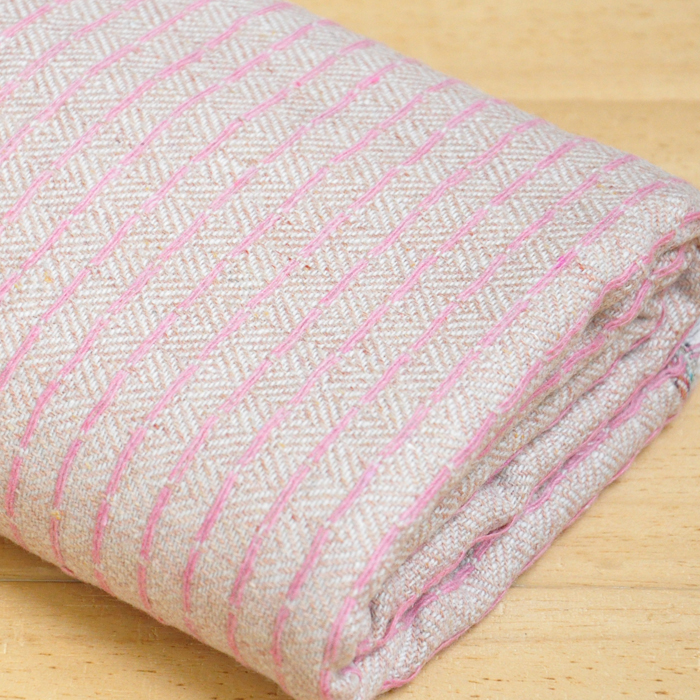 Free ship pink line weaved tweed tissue fabric rpice for 1/2 yard
