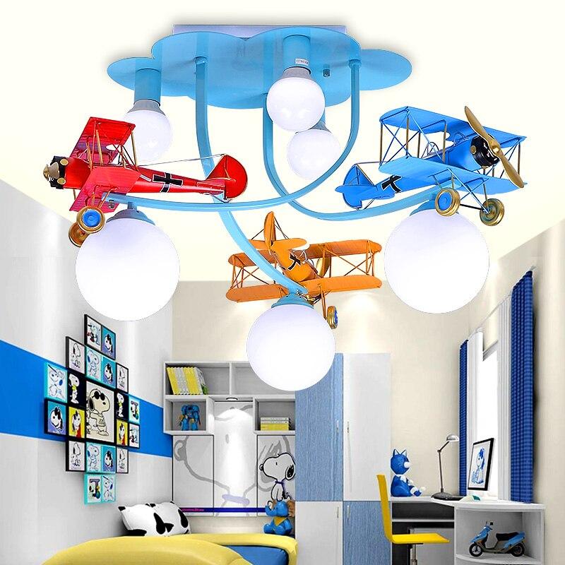 Pendentif avion enfant 3 têtes bleu/couleur garçons et filles chambre maternelle salle de jeu lampes suspendues décoratives ZA