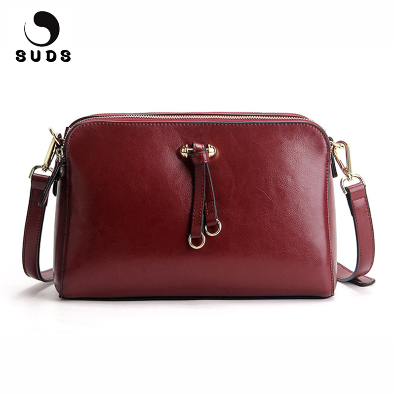 SUDS Brand Genuine Leather Women Messenger Bag Female Cow Leather High Quality Shoulder Bag Lady Solid Small Crossbody Flap Bags 2017 summer metal ring women s messenger bags solid scrub leather women shoulder bag small flap bag casual girl crossbody bags