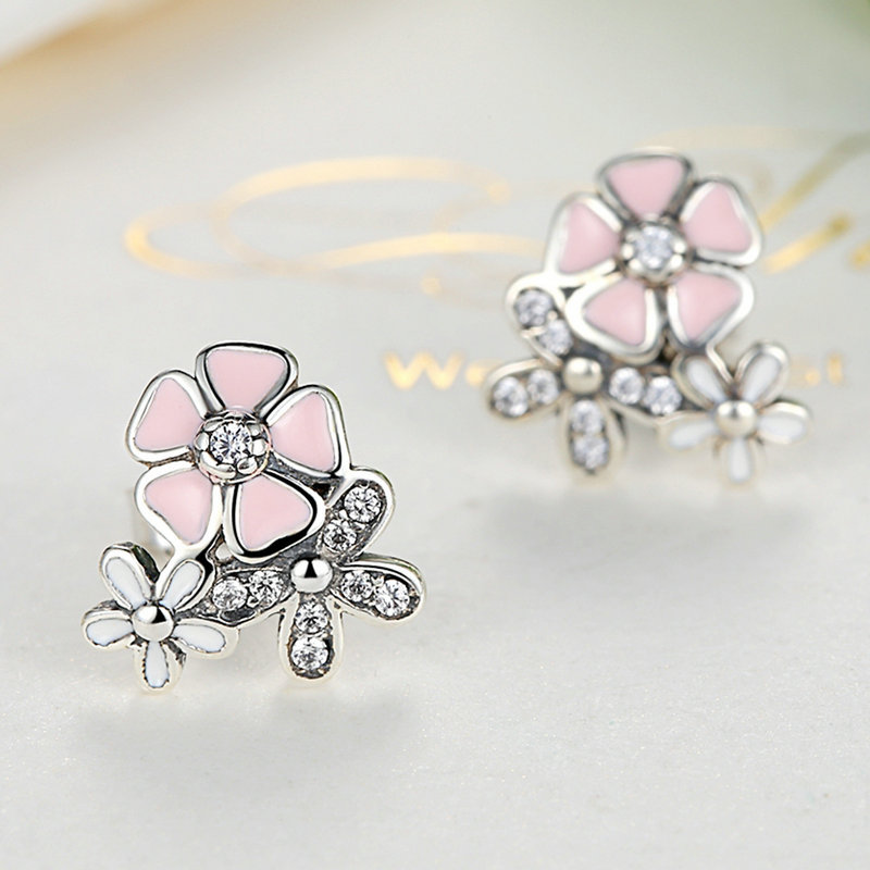 Aliexpress buy homod silver color poetic daisy cherry blossom aliexpress buy homod silver color poetic daisy cherry blossom pandora drop earrings mixed clear cz pink flower women engagement from reliable drop mightylinksfo