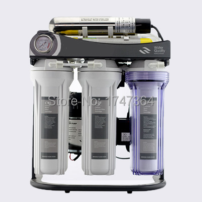 Hot Selling 7 Stadiu Reverse Osmosis System 50GPD cu stand, UV și manometru / 220V / Europa Plug cu două pini