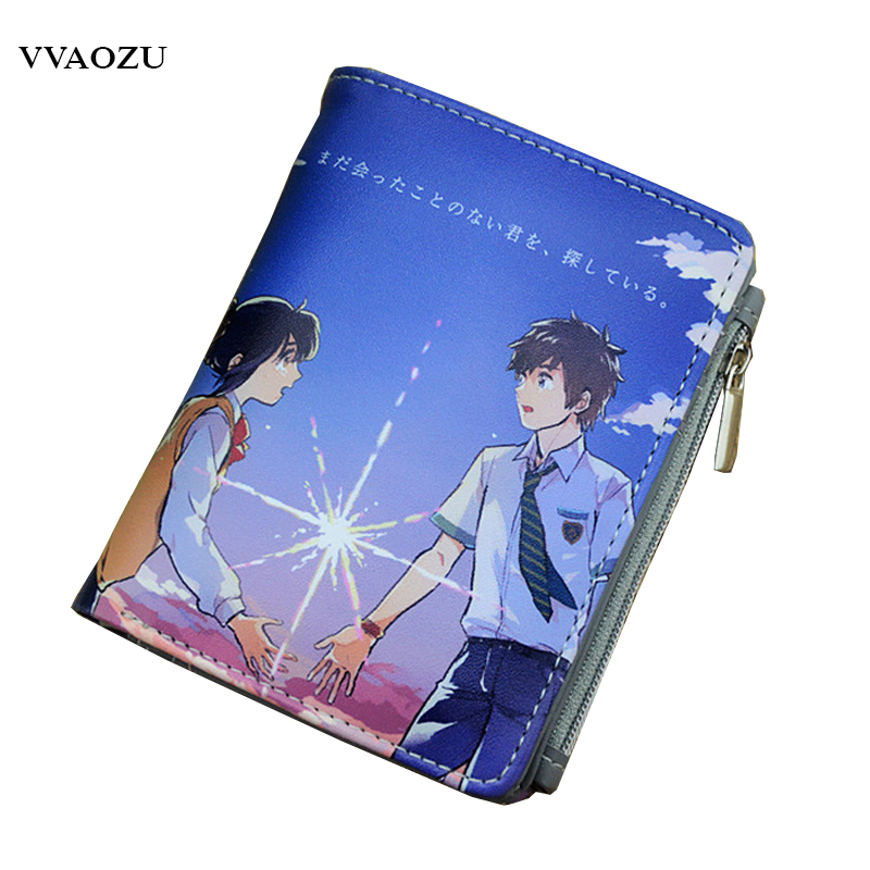 Japan Anime kimi no na wa You Name Short Cosplay Wallet with Credit Card Holders Coin Pocket Purse Free Shipping japan anime pocket monster pokemon pikachu cosplay wallet men women short purse leather pu coin card holder bag