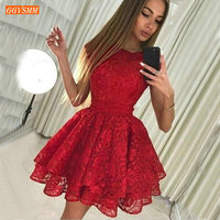 Fashion Red Lace Short Prom Dresses Sleeveless Knee Length Customized Prom Gowns Women Slim Fit Cocktail Party Dresses On Sale