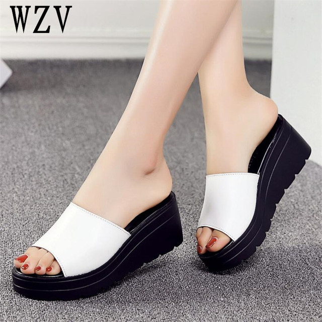 Women Sandals 2018 Genuine Leather Open Toe Women Shoes Woman Flip Flops Wedges Fashion Platform -7916