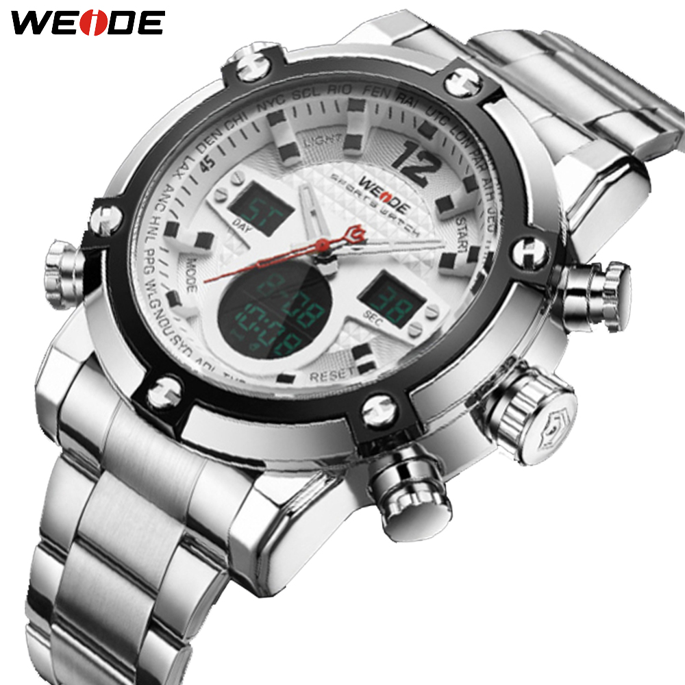 WEIDE Brand Men Watch Sports Men's Watches Quartz Multifunction Military Analog Digital LCD Dual Display Stainless Steel Clock weide irregular analog led digital watch men quartz dual movement stainless steel bracelet mens waterproof military watches