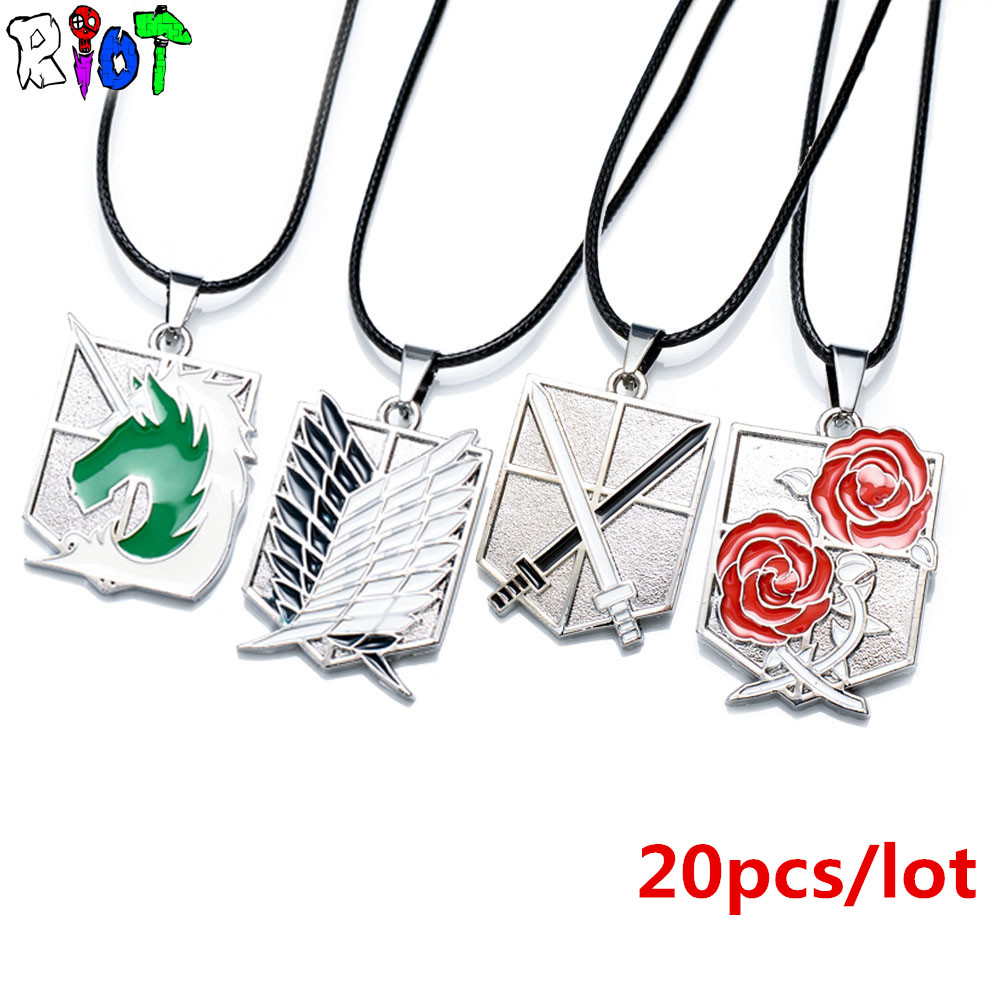20 pcs/lot Attack on Titan 11 styles wholesale Leather Chain choker necklace The big four corps sets logo alloy Pendant Necklace