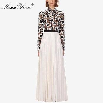 MoaaYina mode Designer robe de piste automne femmes robe col roulé à manches longues Floral évider Patchwork Maxi robes