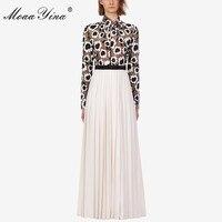 MoaaYina Fashion Designer Runway dress Autumn Women Dress Turtleneck Long sleeve Floral Hollow Out Patchwork Maxi Dresses