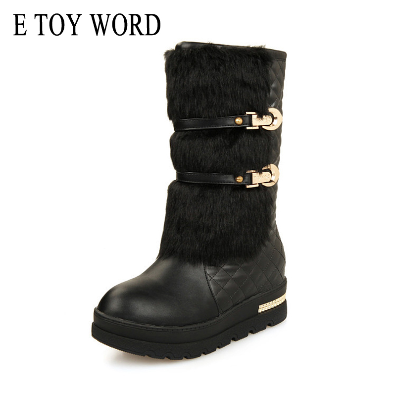 E TOY WORD Winter Platform Snow Boots Women Shoes High Quality PU Leather Thick Mid Calf Boots Plus Size 35-43 shiningthrough size 33 43 winter women boots thick high heels round toe platform shoes solid pu leather mid calf boots