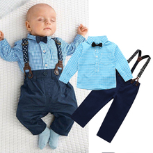 2017 NEW 2PCS Newborn Kids Clothes Set Baby Boys Outfits T-shirt Tops + Long Pants Party Baby Boy Clothes Sets(China)