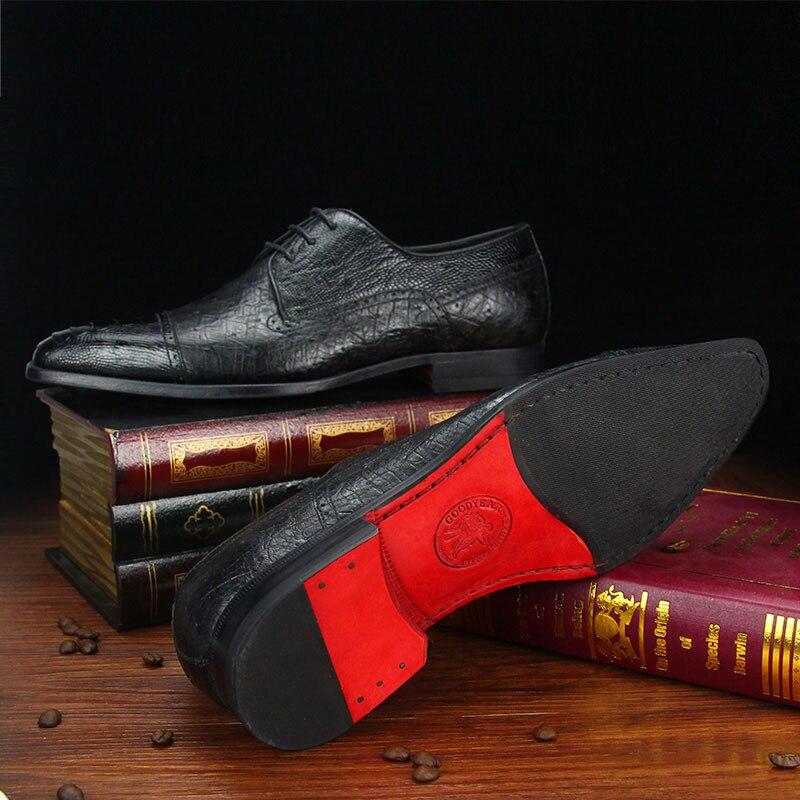 Goma Piel Zapatos Mano Cuero Traje Caballero Hecho A De Hombre Negro Italiano Mackay Avestruz Banquete Calzado Sipriks Suela Vestir 5pxZwnH