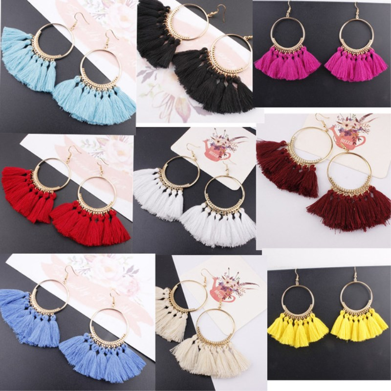 Bohemian Handmade Statement Tassel Earrings for Women Vintage Round Long Drop Earrings Wedding Party Bridal Fringed Jewelry Gift