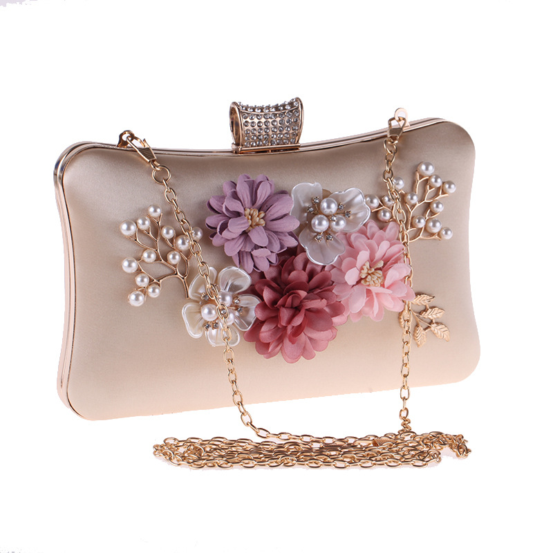 European and American High-end Dinner Bag, Women's Flower Polyester Evening Bag, Graceful Pearl Clutch Bag