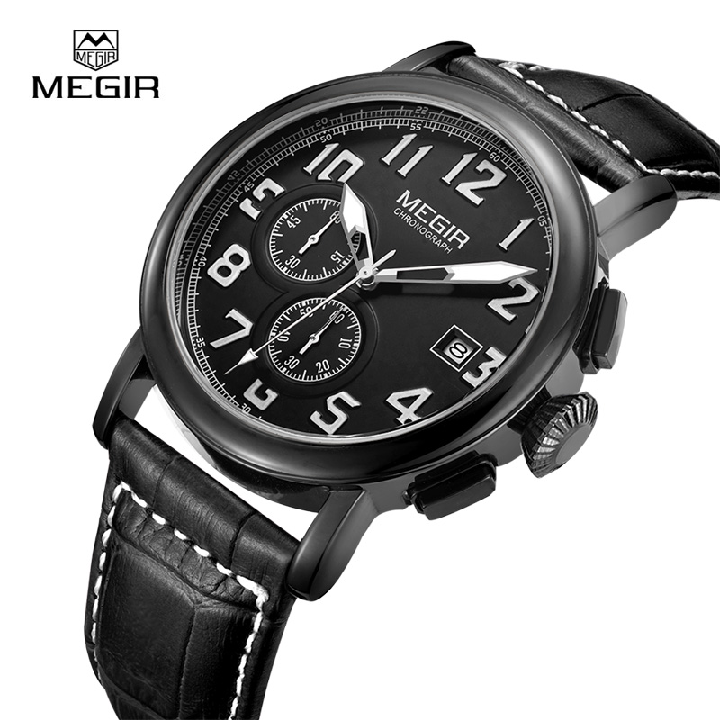 MEGIR Men's Quartz Watches Men Chronograph Leather Strap Wristwatches Fashion Luminous Waterproof Clock 2031 megir b