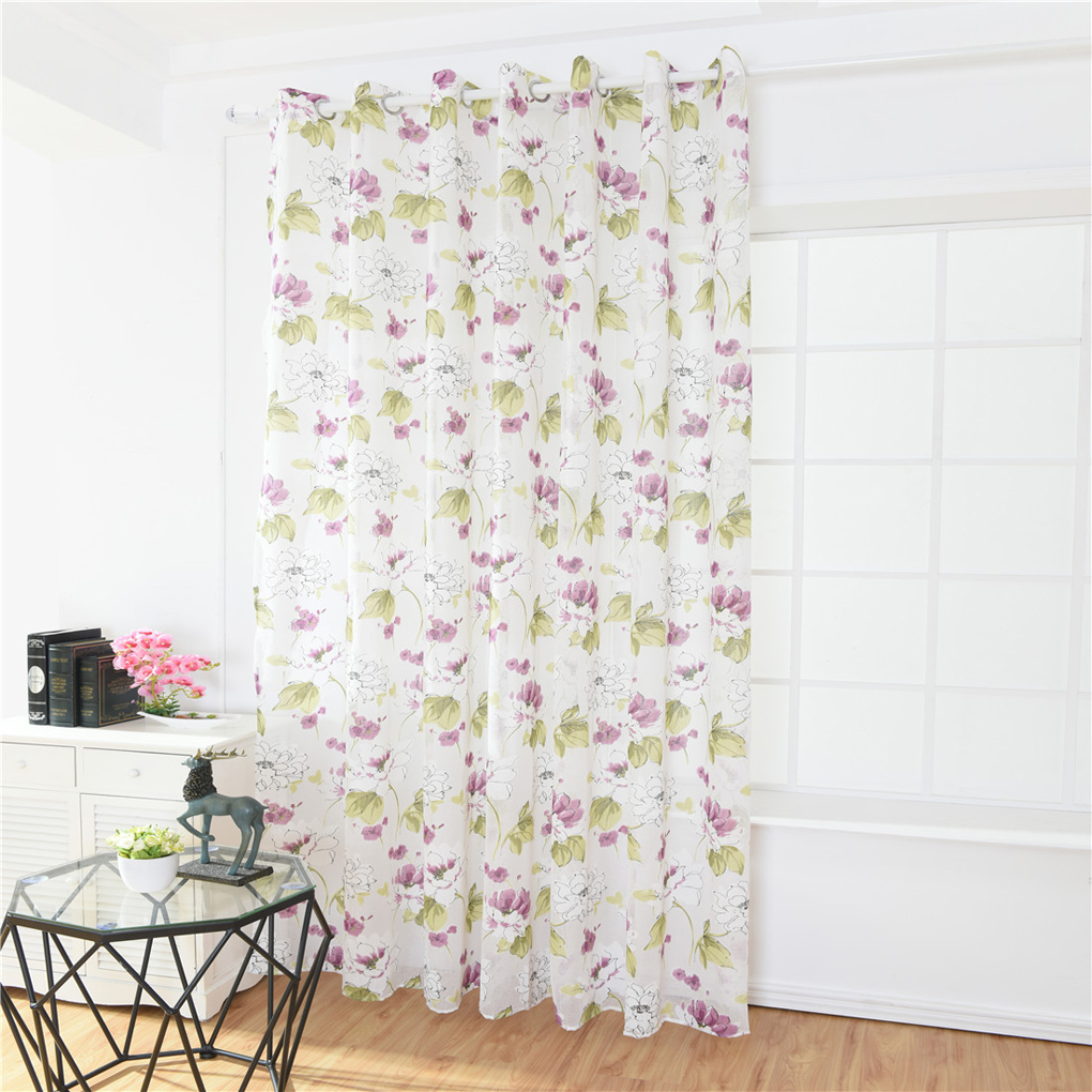 US $8.8 30% OFF|Ink Lotus Printed Curtain Translucent Flower Window Drapes  Floral Semi Sheer Kids Girls Bedroom Blinds 100*200-in Curtains from Home &  ...