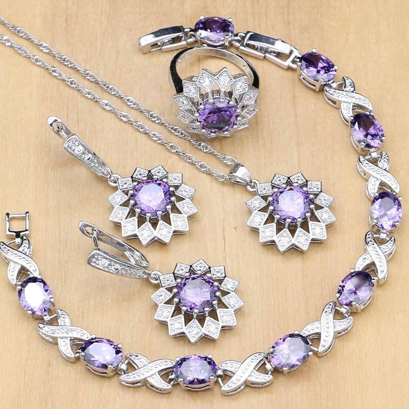 Flower Shaped Jewelry Sets Purple CZ White Crystal Silver 925 Jewelry For Women Earrings/Pendant/Rings/Bracelet/Necklace Set