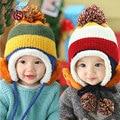 Wool Knitted Twist Plus Velvet Ears Hats For Girls Boys Beanies Three Balls Winter Warm Cap Gorro Korean Fashion Children Cap