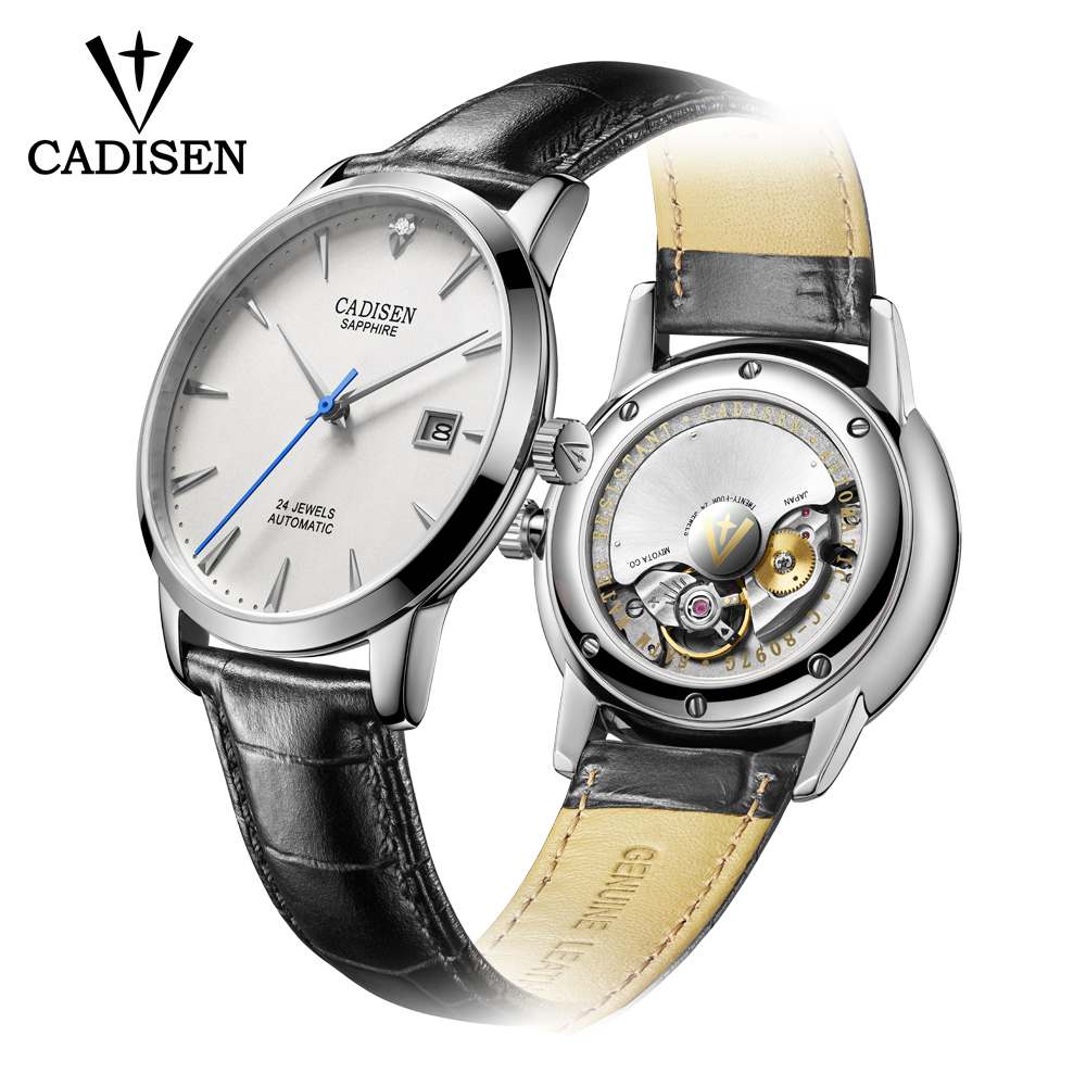 CADISEN Men Watch Wrist Clock Automatic Real-Diamonds Luxury Brand Hot Famous Male
