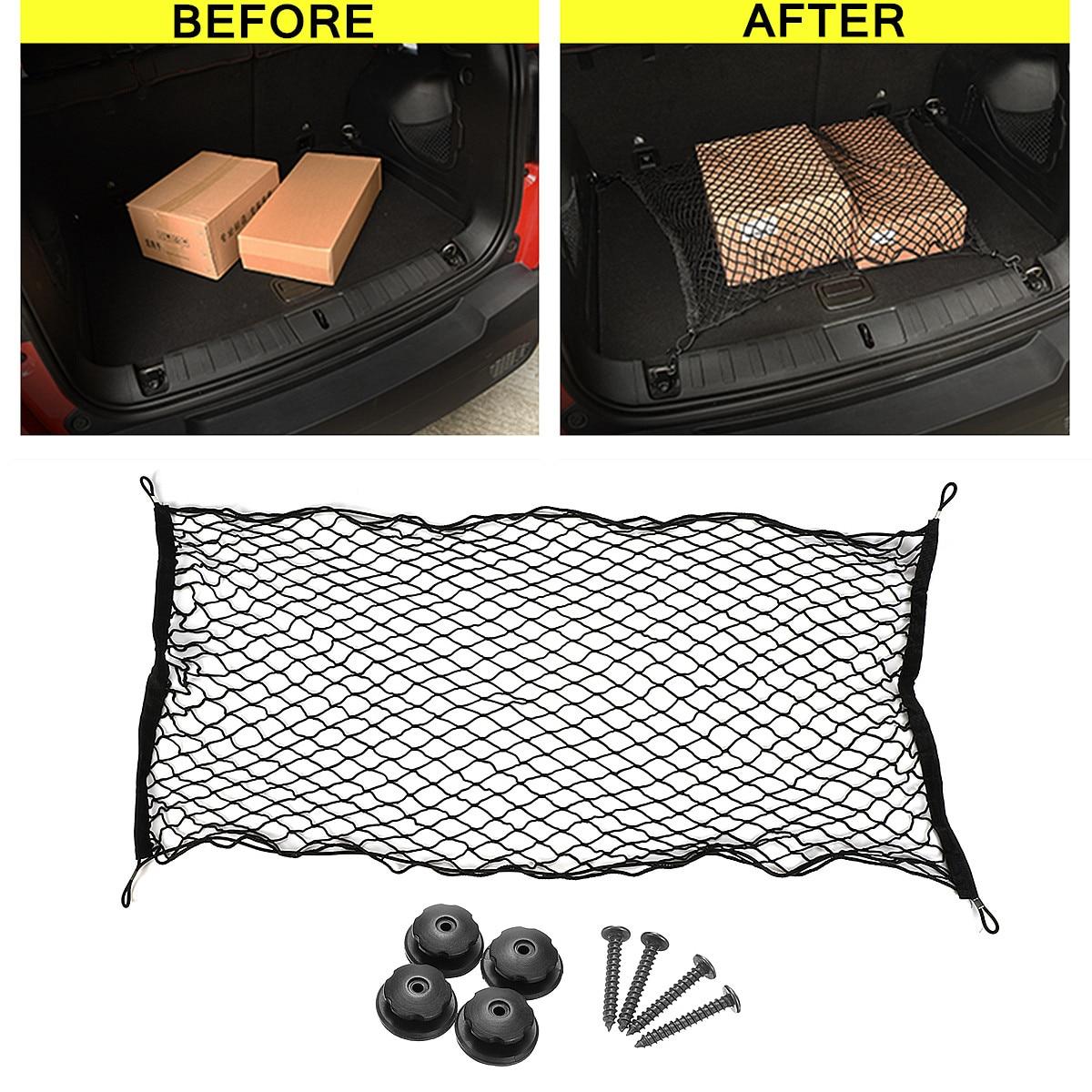 Auto Suv Achter Cargo Organizer Opslag Elastische Mesh Net Houder Bagage Vaste Sterke Stretch Grote Slijtvastheid Zwart Nylon Verkwikkende Bloedcirculatie En Stoppen Van Pijn