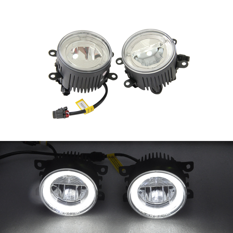 цена на Xenon White Led Front Fog Lamp Assembly Kits W/ Guide Angel Eyes Halo Rings For Subaru WRX/STi For BRZ Legacy For Forester