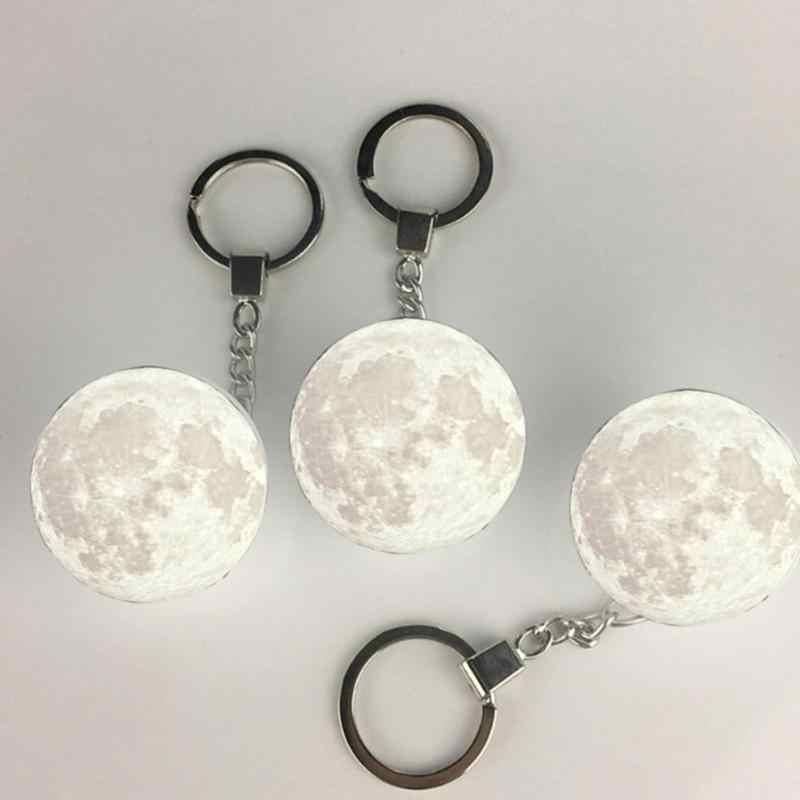 แบบพกพา Mini 3D พิมพ์แสงดวงจันทร์ Creative Moon Night โคมไฟกระเป๋าจี้ตกแต่งบ้าน Planet Night Light Keychain