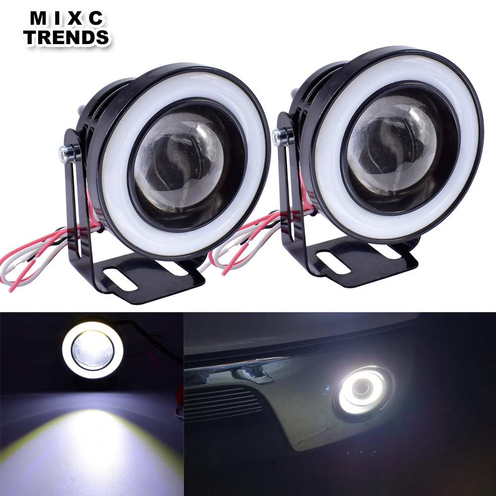 1Set 3 Inch 76mm Projector LENS COB <font><b>LED</b></font> Fog Lamp with Halo Rings Angel Eyes 30W 12V Car Motorcycle DRL Daytime Running Fog Light image