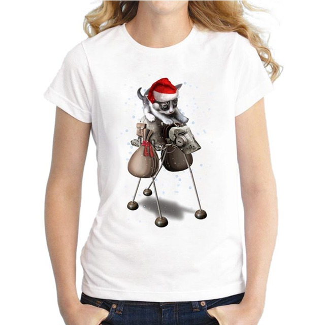 2018 funny women santa cat t shirts christmas tops novelty fashion t shirt short sleeve