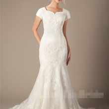 cecelle Ivory Lace Long Wedding Dresses With Cap Sleeves