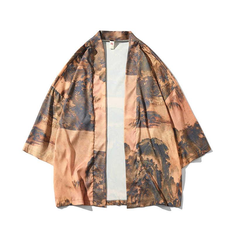 2019 Mens Jackets 중국어 번체 그림 Streetwear Hanfu Shirt 여름 캐주얼 오픈 스티치 플러스 사이즈 5XL Fashion Homme