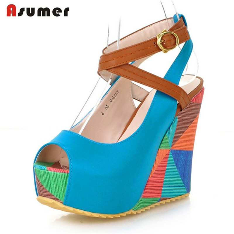 Asumer 2018 Wedges shoes women sandals buckle open-toed platform shoes summer fashion popular hot sale soft leather anmairon shallow leisure striped sandals women flats shoes new big size34 43 pu free shipping fashion hot sale platform sandals