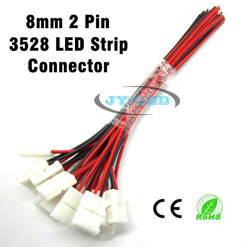 50pcs/lot 2 Pin Welding Free 3528 LED Strip Connector at 1 end for 8mm Width Single Color Strip to Strip Connection ...
