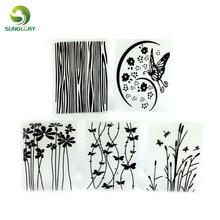 5PCS Flower Texture Sheet Set Butterfly Grass Mat Sugar Craft Decoration Cookie Fondant Cake Mold Cupcake Baking