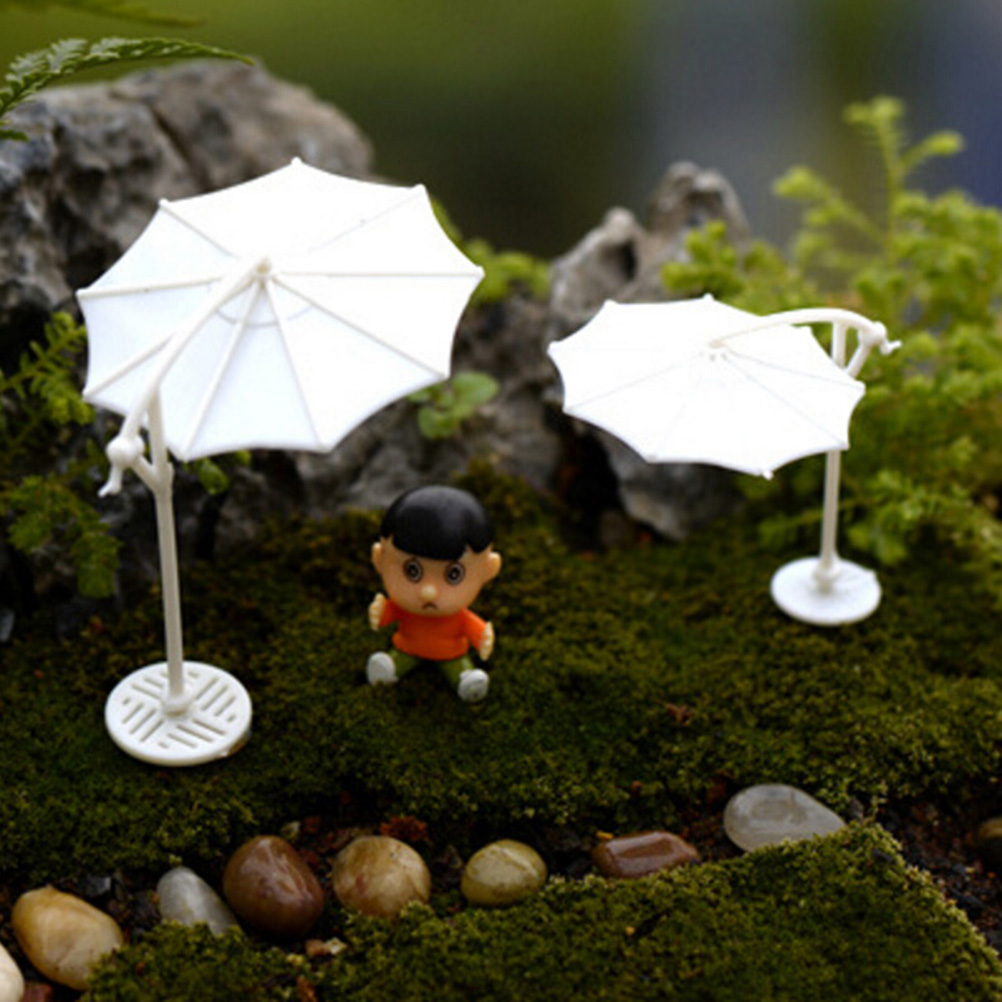NEW White Sun Umbrella Parasol Miniature Fairy Garden Home Decoration Mini Craft Micro Landscaping Ornament Wholesale
