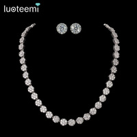 White Gold Plated AAA Swiss Cubic Zirconia Stone Earrings And Necklace For Wedding Bride Jewelry Set