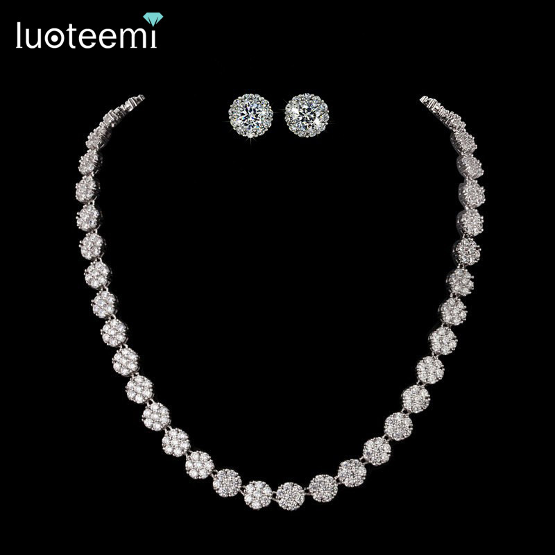 LUOTEEMI White Gold-Color AAA+ Cubic Zirconia Stone Earrings and Necklace for Wedding Bridal High Quality Jewelry SetLUOTEEMI White Gold-Color AAA+ Cubic Zirconia Stone Earrings and Necklace for Wedding Bridal High Quality Jewelry Set