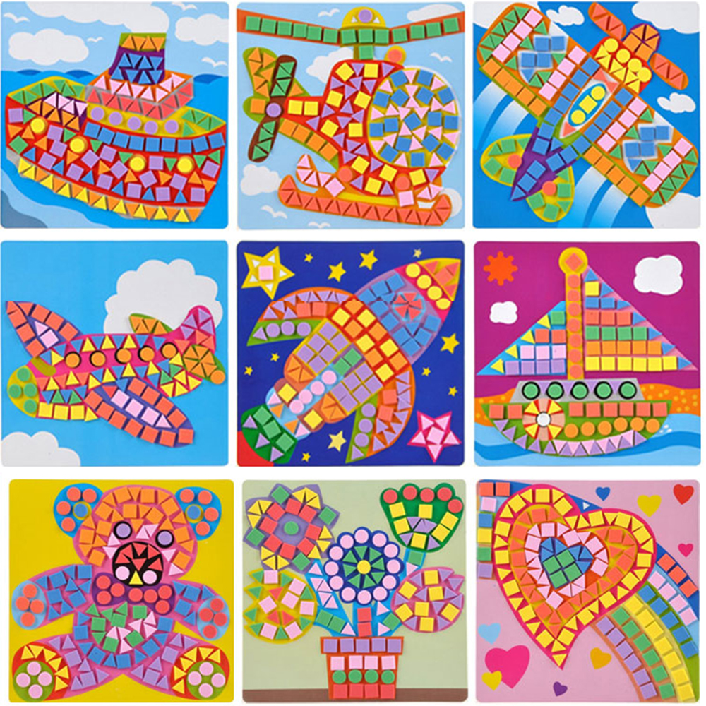 6 Pcs/Lot 3D Puzzle Button Stickers Drawing Board Toy For Children Handmade DIY Art Craft Kit Preschool Children Educational Toy